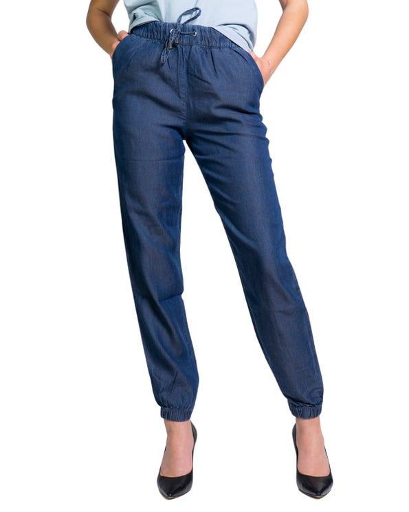 Elastic Waist Pocket Denim Trouser
