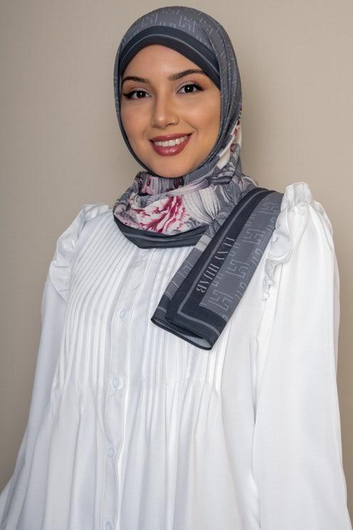 Gray Floral Printed Hijab