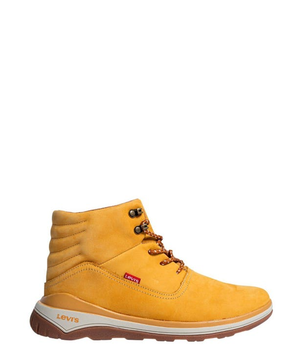 Mustard Leather Lace Up Ankle Boots