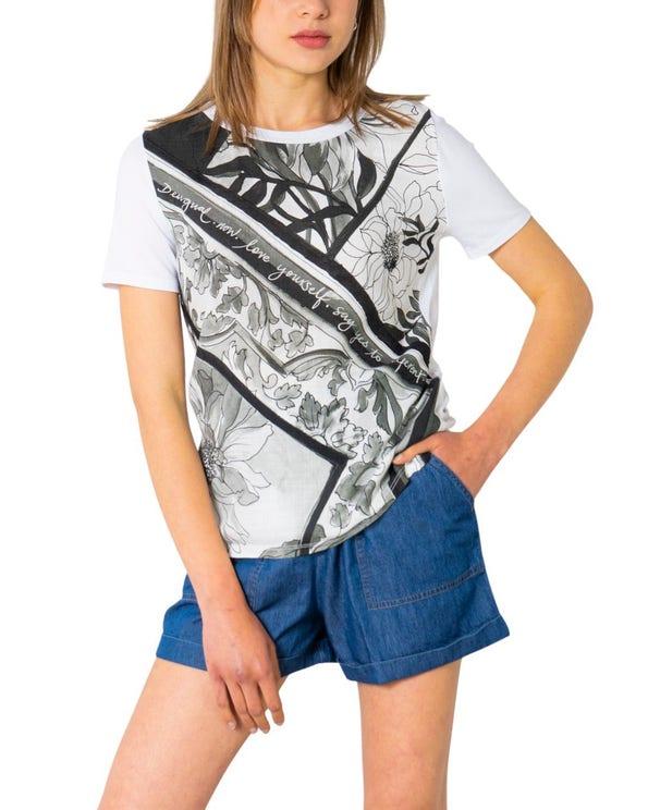 White Short Sleeve Graphic  T-shirt