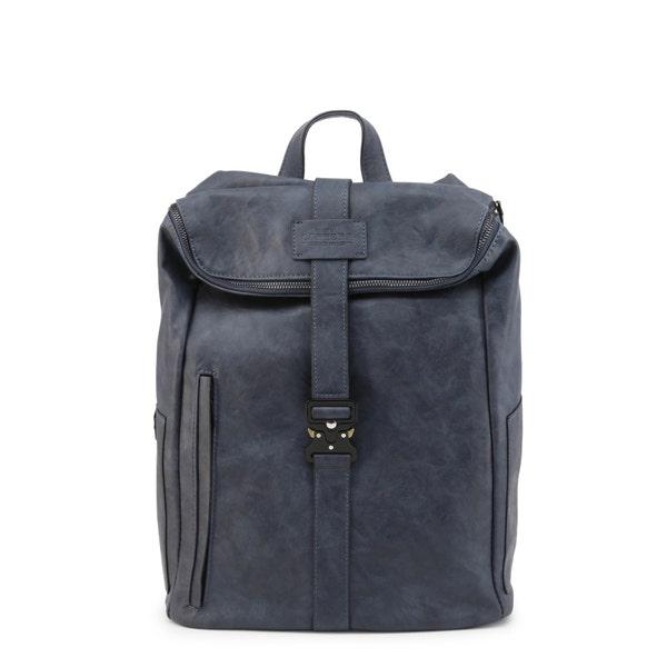 Blue Leather Metallic Zip Backpack
