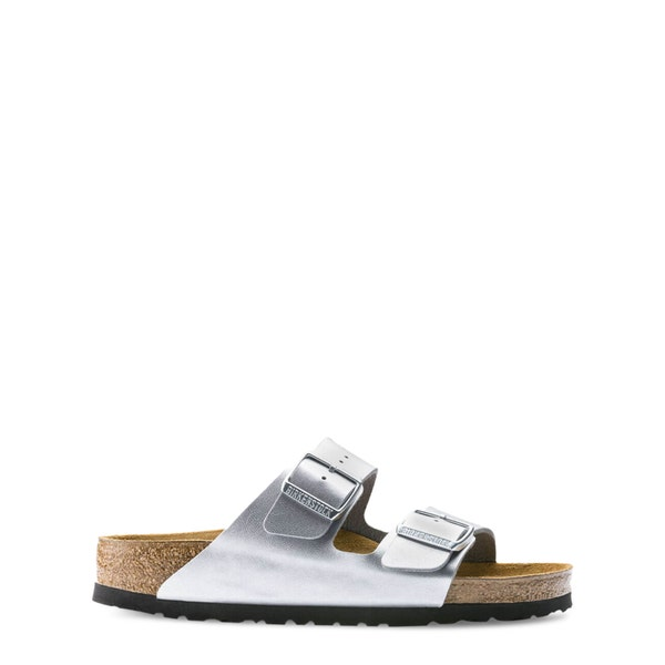 Grey Buckle Strap Leather Sandals