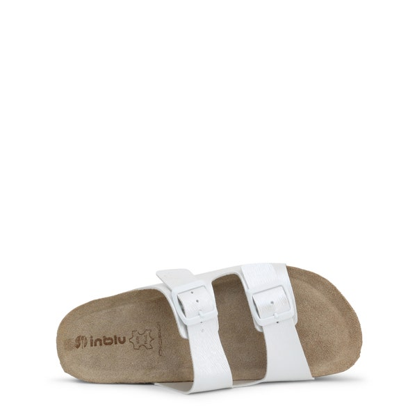 White Leather Buckle Pin Flip Flops