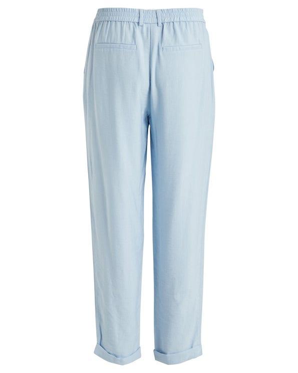 Elastic Waist Button Fold Hem Trouser