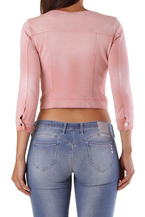 Pink Round Neck Button Crop Blazer