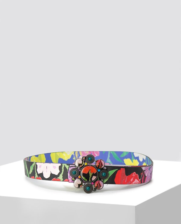 Allover Floral Pattern Belt