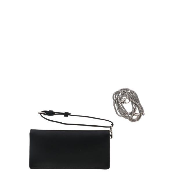 Black Leather Flap Button Wallet