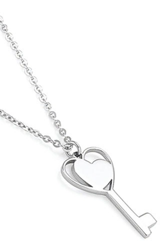 Stainless Steel Heart Key Pendant Necklace