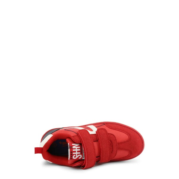 Red Suede Velcro Strap Kids Sneakers