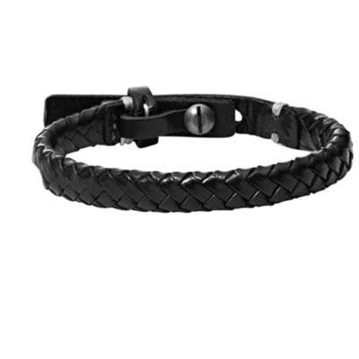 Stainless Steel Gunmetal Leather Bracelet