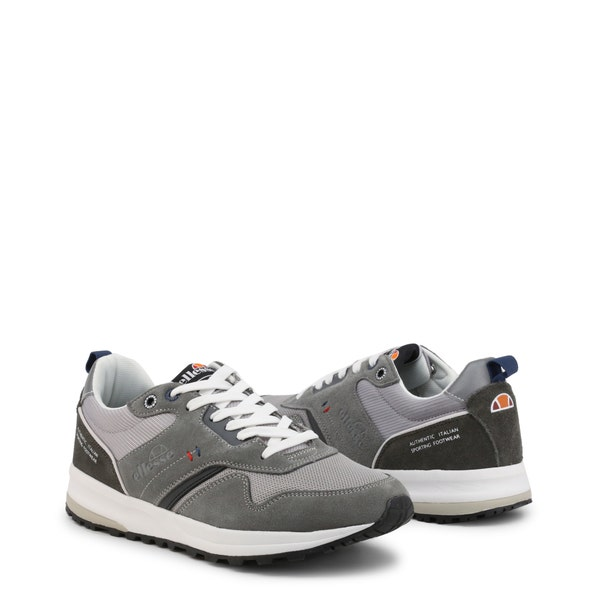 Grey Round Toe Lace Up Sneakers