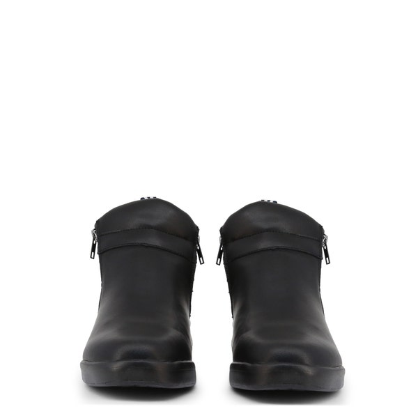 Black Leather Zipper Ankle Boots