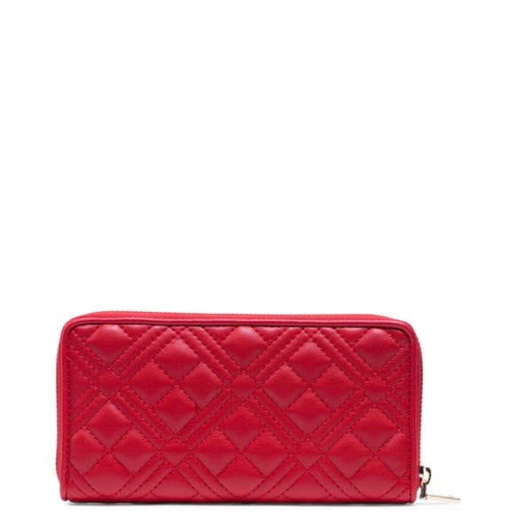 Red Round Zipper Quilted Wallet