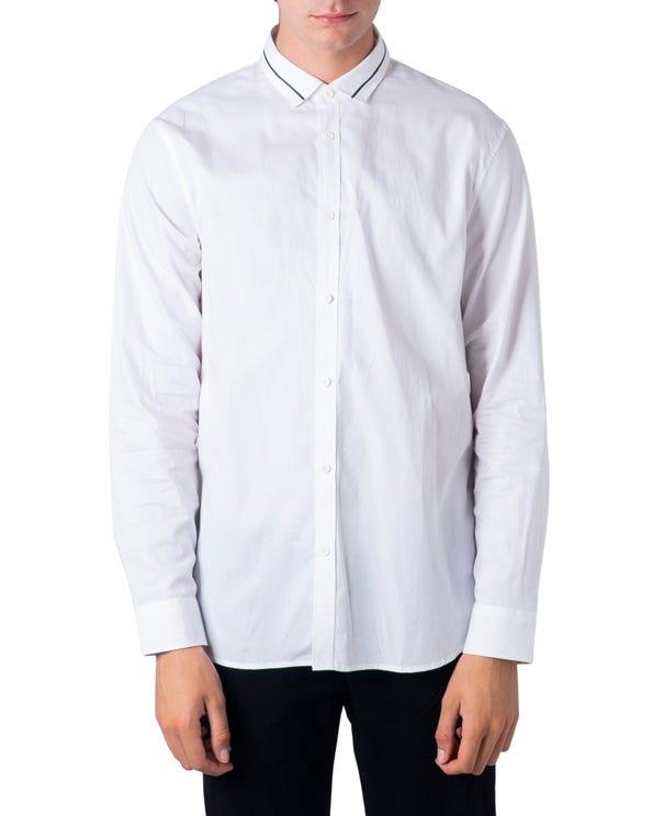 White Button Long Sleeve Polo Shirt
