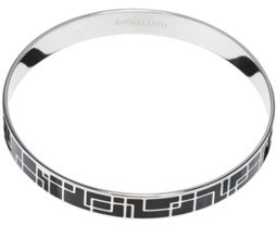 Black Croc Marks Stainless Steel Bracelet