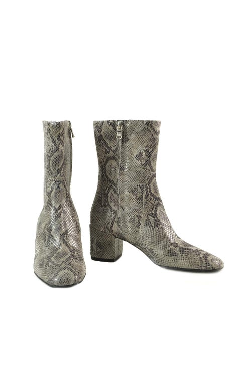 Snake Print Side Zipper  Ankle Boots