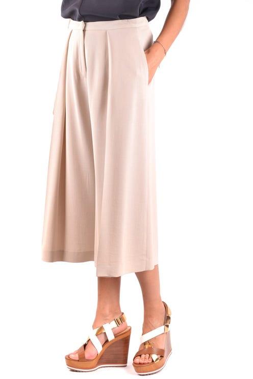 Beige Pleated Wide Leg Crop Trouser