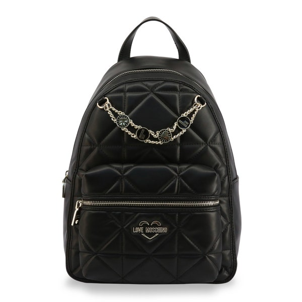Black Leather Quilted Zip Backpack