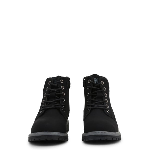 Black Leather Kids Ankle Boots