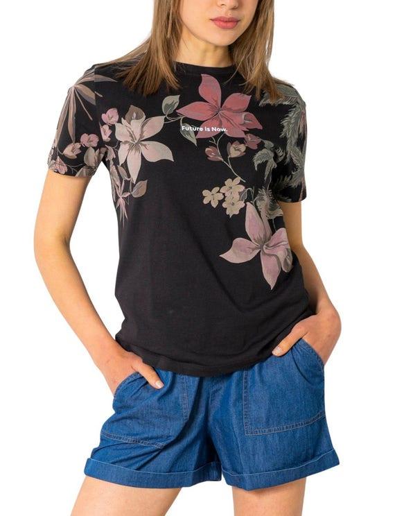 Black Round Neck Floral Print T-shirt