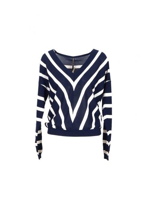 V-Neck Stripes Long Sleeve Knit Top