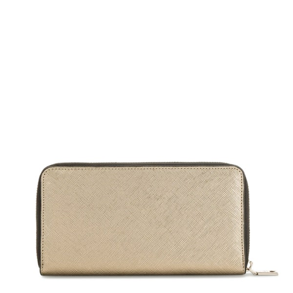Gold Leather Round Zipper Wallet