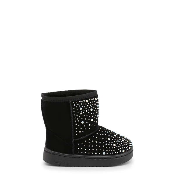 Black Round Toe Studs Kids Ankle Boots