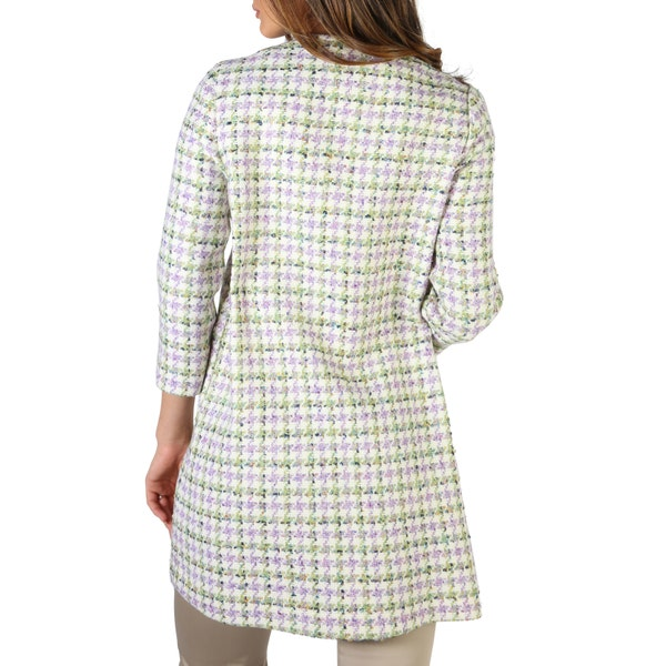 Violet Round Neck 3/4 Sleeve Buttons Coat
