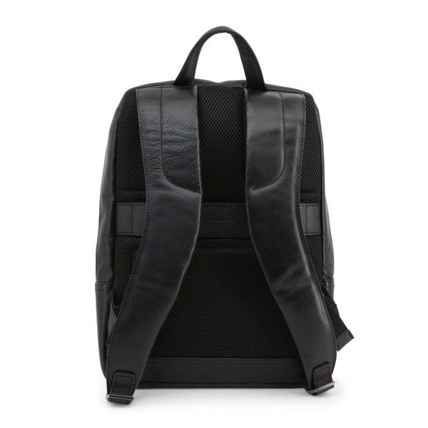 Black Leather Handle Zipper Pocket Backpack