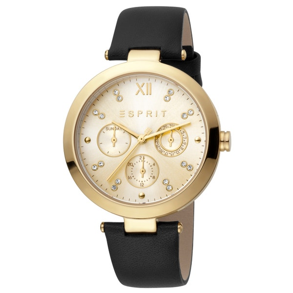 Leather Gold Dial Stone Analog Watch