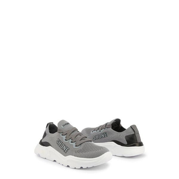 Grey Elastic Lace Up Kids Sneakers