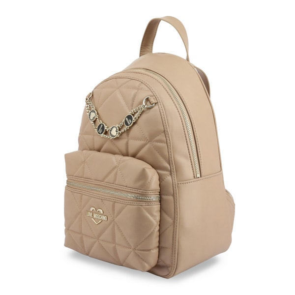 Brown Leather Quilted Zip Backpack