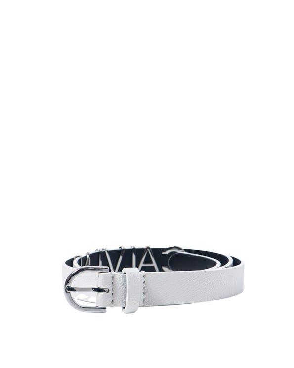 White Leather Logo Steel Belt