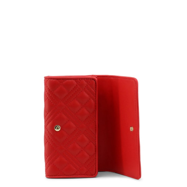 Red Quilted Leather Zipper Wallet