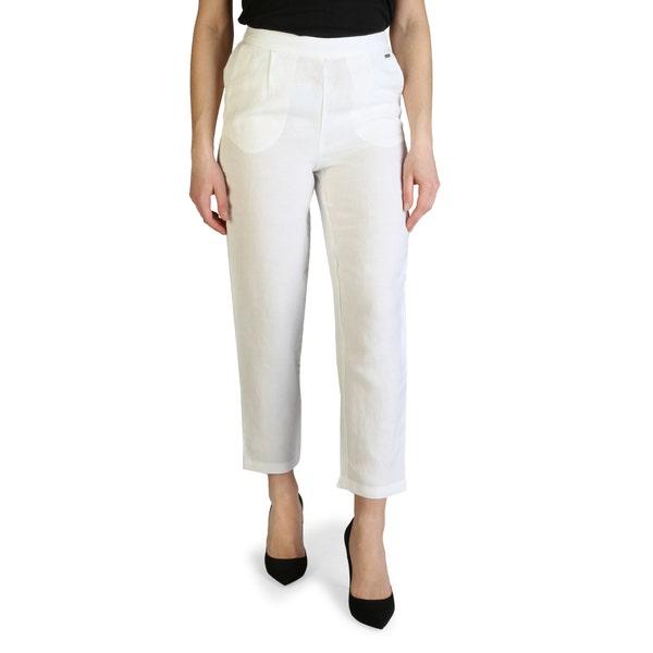 White Plain Elastic Waist Crop Trouser