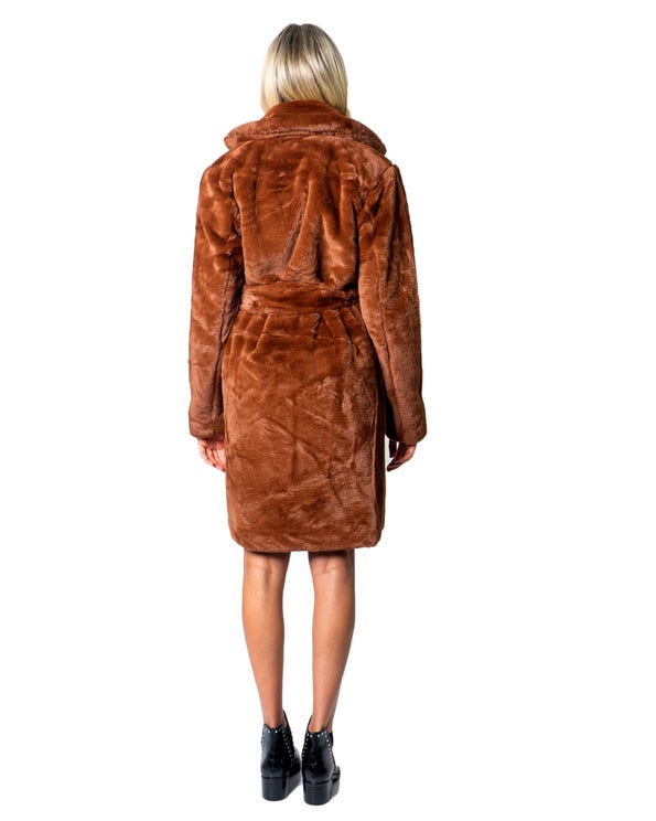 Orange Collar Neckline Self Tei Coat