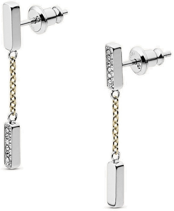 Two Tone Stainless Steel Chain and Glitz Earring