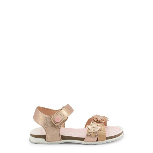 Nude Velcro Floral Strap Kids Sandals