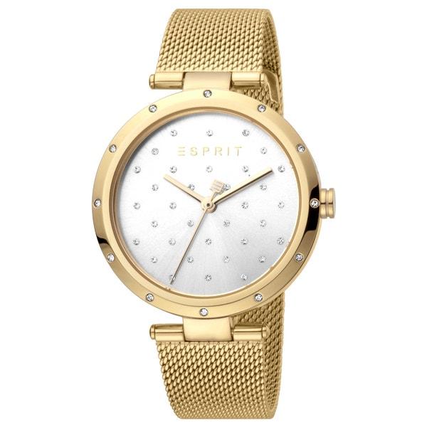 Mesh Strap Silver Dial Stone Quartz Watch