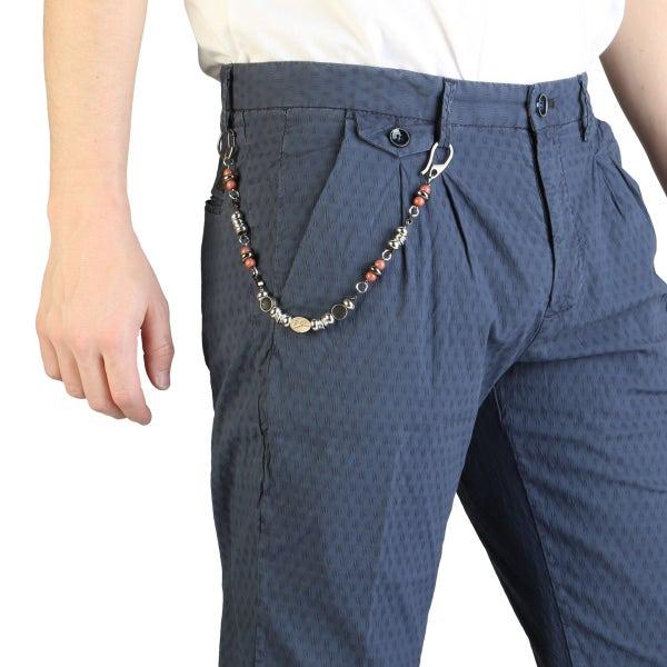 Textured Button Zipper Pocket Trouser