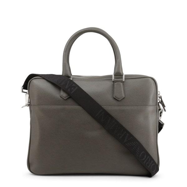 Grey 2 Handles Leather Briefcase
