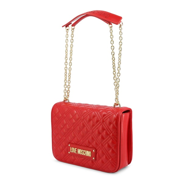 Red Leather Quilted Flap Shoulder Bag