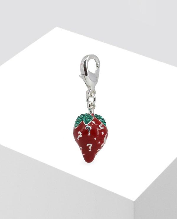 Silver Embellished Strawberry Pendant