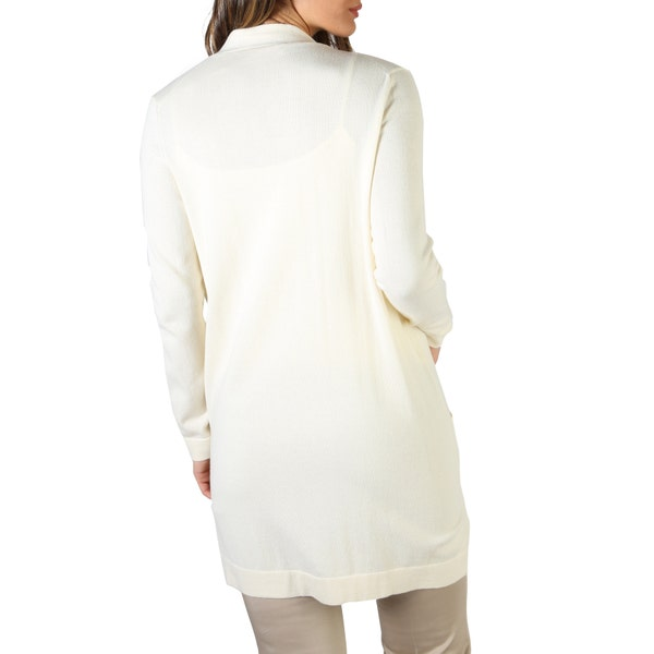White Long sleeve Open Front Sweater
