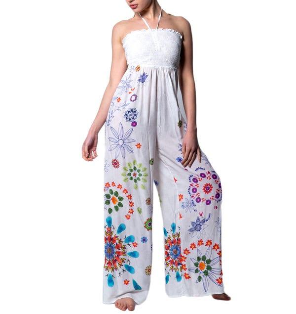 Floral Print Elasticated Sleeveless Jumpsuit