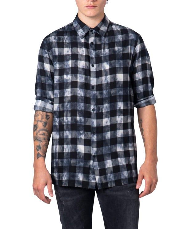 Collar Neck Checked Long Sleeve Shirt