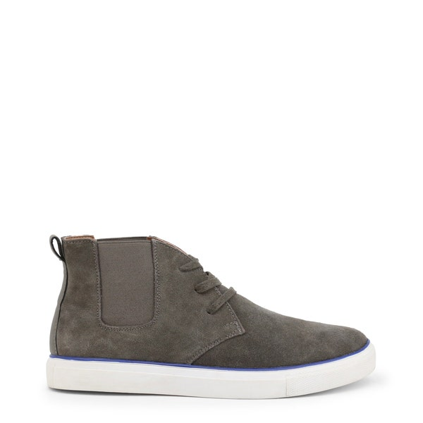 Grey Suede Elastic Lace Up Shoes