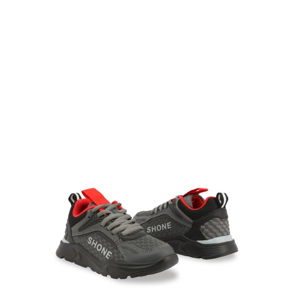 Dark Grey Lace Up Kids Sneakers