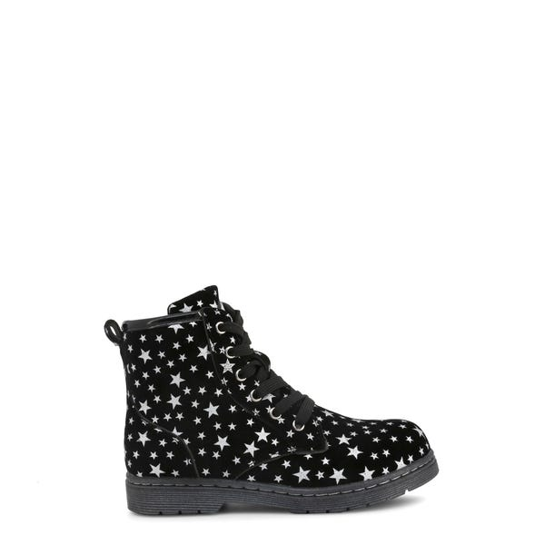 Leather Lace Up Star Print Kids Ankle Boots