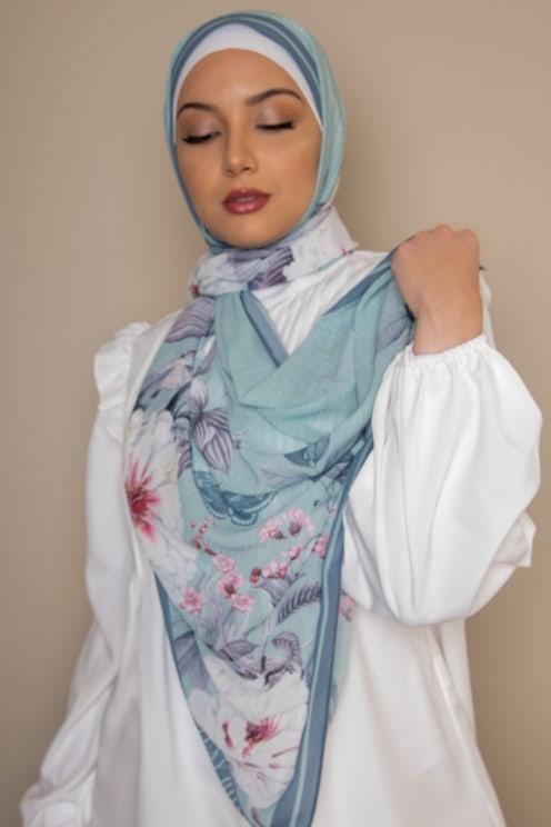 Pistachio Floral Printed Hijab